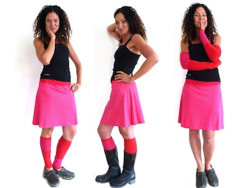 Arm warmers and leg warmers, red, pink stripes, stripes