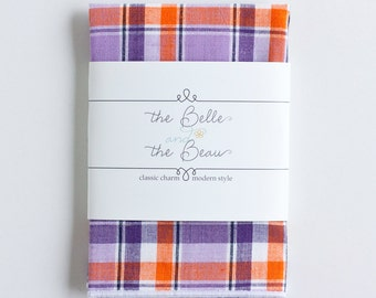 Pocket Square, Pocket Squares, Handkerchief, Mens Pocket Square, Boys Pocket Square, Wedding Pocket Squares - Purple And Orange Madras Plaid