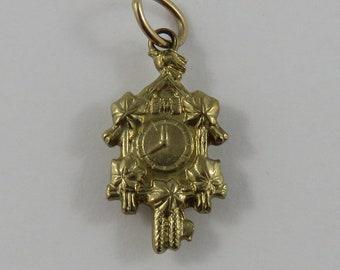 Cuckoo Clock 8K Gold Vintage Charm For Bracelet