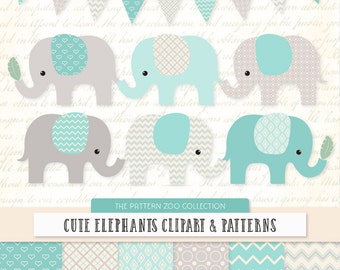 Patterned Aqua Elephants Clipart and Digital Papers - Aqua Elephant Clipart, Elephant Vectors, Baby Elephants, Cute Elephants