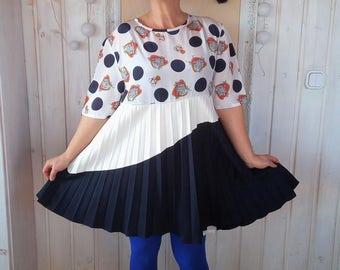 Adele style Upcycled Tunic Dress Plus Size Cotton