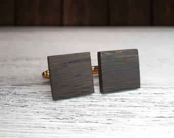 Wooden Cufflinks, Square cufflinks, gift for Groomsmen, 5th Wedding Anniversary Present, Wenge wood, Man gift, Wood cufflinks, Gift for Dad