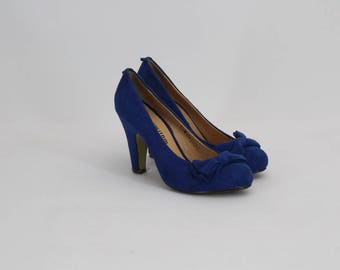 90s • Vintage • Blue Suede Shoes • Elegant Shoes • High Heel Shoes • Party Blue Schoes • Suede Shoes • Women's Shoes • US 6 • UK 4 • EU 36