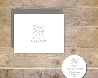 Wedding Thank You Cards . Personalized Wedding Cards . Stick Figure Wedding Cards - Stick Figure Kiss