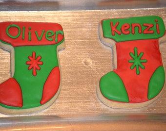 Christmas Stocking Sugar Cookies