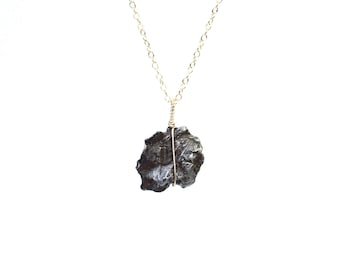 Meteorite necklace - mineral necklace - shooting star necklace - a genuine meteorite on a 14k gold filled or sterling silver chain