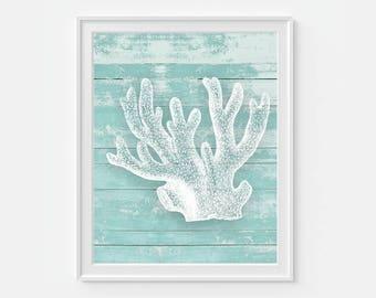 Coral Reef Art, Nautical Art, Ocean Reef, Rustic Beach Art, Sea Life, Beach Decor, Nautical Wall Art, Sea Reef, Wall Decor, Ocean Wall Art