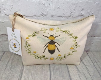 Bumble Bee Makeup Bag / Cosmetic Pouch / Cosmetic Bag / Accessory Bag / Makeup Bag / Bee Lover Bag