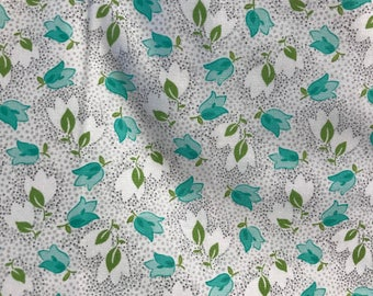 Color Me Happy by Vanessa Christenson of V and Co for Moda 100% Cotton Fabric by the Yard Minty Blue Flowers on Gray and White Beautiful
