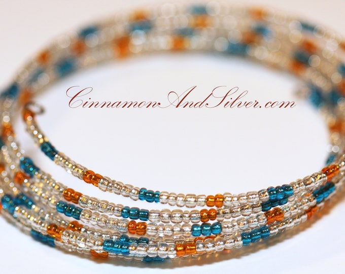 Blue and Orange Hippie Seed Bead Coil Bracelet, Blue Bangle Bracelet, Blue Memory Wire Bracelet, Multicolor Coil Wrap Seed Bead Bracelet