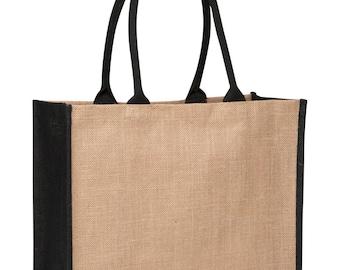 Contrast Black Jute Bag