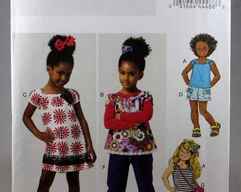Butterick 5776, Girls' Top, Dress, Shorts, Pants and Bag Sewing Pattern, Easy Sewing Pattern, Sizes 6, 7, 8, Uncut
