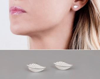 Leaf Stud Earrings, Silver Stud Earrings, Sterling Silver 925 Earrings, Simple Studs, Dainty Posts, Gold Studs, Rose Gold, Leaves Earrings,