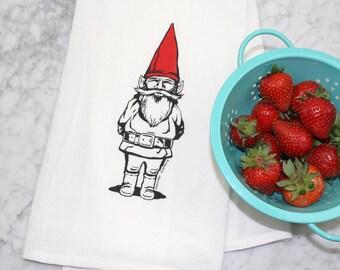 Gnome Kitchen Towel - Screen Printed - Cotton Flour Sack Tea Towel - Eco-Friendly Kitchen Towel - Garden Gnome Decor
