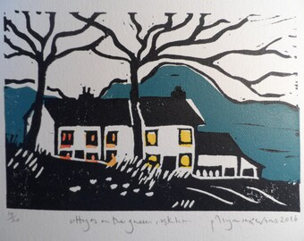 Cottages on The Green, Askham - original, limited edition, two block linocut print by Polly Marix Evans