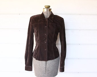 90s brown faux suede jacket - velvet blazer - small