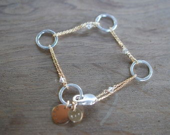 Personalized Fine silver and Gold filled chain linked bracelet