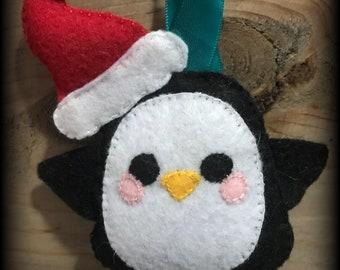 Penguin plush Christmas ornament