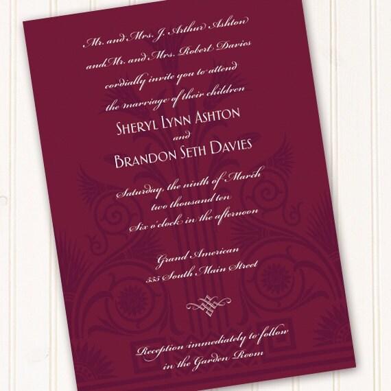 wedding invitations, wedding rsvp, cranberry wedding invitations, art deco wedding invitations, cranberry bride, Incan wedding, IN276