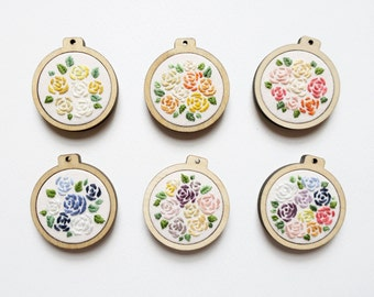 Little Roses Embroidery Hoop Art - 3cm, 1.5 inches wide - 6 colours available