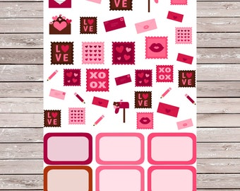 Valentine's Day Love Letter with 6 Half Boxes Planner Stickers, Erin Condren Planner Stickers, ECLP, Filofax, Kikki K, Mambi, Happy Planner