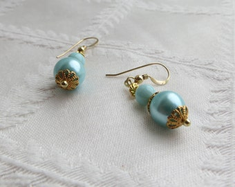 Gold & Turquoise Drop Earrings, #GE-224