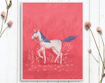 Girl's room wall art of a magical unicorn: downloadable printable wall art