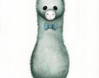 Alpaca - Antique original painting on thick premium watercolor paper