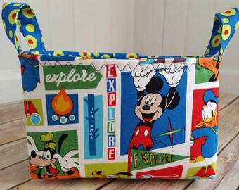 Fabric storage basket, mickey mouse fabric basket, Mickey mouse nursery, Disney fabric basket, Disney Teacher gift, Explorer basket