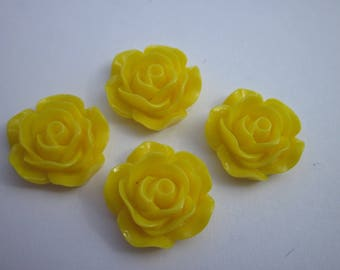 4 resin flowers to paste base 16 mm - 18 mm Petals yellow