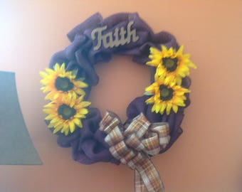 Handmade burlap and deco mesh wreaths
