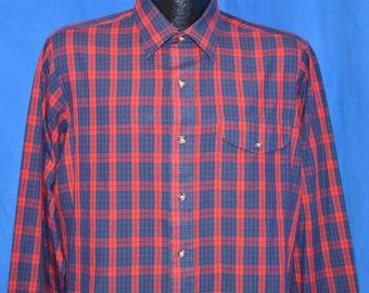 90s Red Blue Plaid Button Down Shirt Large