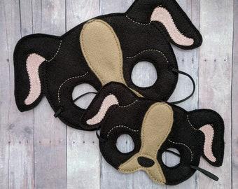 Puppy Dog Felt Mask in 2 Sizes, Elastic Back, Black and Brown Acrylic Felt, Dress Up Costume, Animal Mask, Halloween, Photo Prop