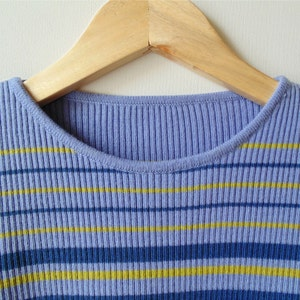 T Shirt with Lavender Green and White Stripes - Vintage Ribbing Tee - Long Sleeves
