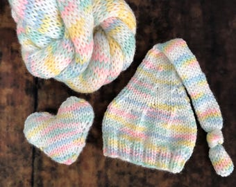 The {Pastel Rainbow} Newborn Long Tailed Sleepy Cap, Knit Wrap, and Giggles Heart Plushie Collection - Options to Purchase