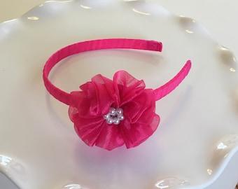Hot Pink Full Ruffle Flower Headband