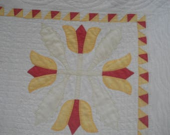 Antique Primitive Appliqued Red/Gold Tulips Quilt-Charmingly Dilapidated-Tattered-Outdoor Display Quilt-Cutter Quilt-Christmas Tree Skirt