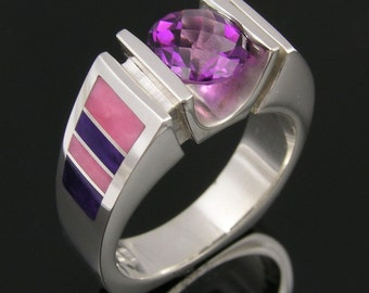 Sterling silver amethyst ring with sugilite and nambulite inlay