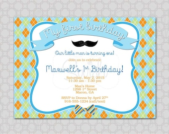 Little Man Birthday Invitation, Mustache Party
