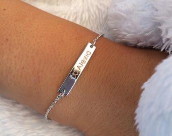 Silver Bar Bracelet, Minimalist Bracelet, Skinny Bar Bracelet, Nameplate Bracelet, Personalized Bar Bracelet, Dainty Bracelet, Gift for Her