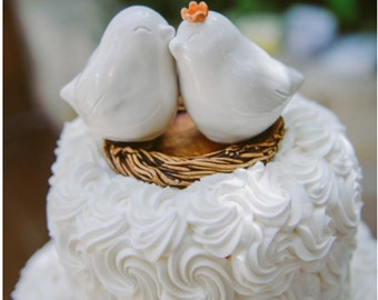 White Cuddling Love Bird Wedding Cake Topper