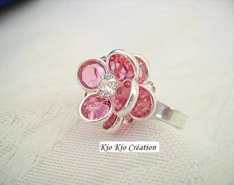 Flower ring adjustable, Bohemian crystal, set, Petal Pink transparent, adjustable open ring, 925 sterling silver, whimsical jewelry, women's fashion