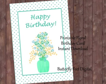Printable Birthday Card for Her, Floral Birthday Card, Flowers in Vase, Instant Download