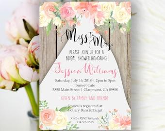 Bridal Shower Invitation, Bridal Shower Invite, Miss to Mrs. Wedding Shower Invitation, blush , rustic floral Wedding Shower invite, boho