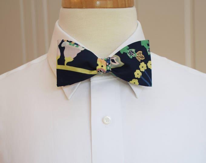 Men's Bow Tie, Liberty of London, dark navy multi floral Symphony print bow tie, groom/groomsmen bow tie, wedding bow tie, tuxedo accessory