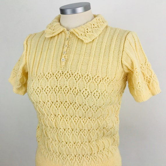 Vintage knitting, handknitted sweater, cream wool, collar, short sleeve, 1930s, 1940s knit jumper, fancy stitch, 1940s pattern, 40s, small