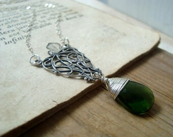 Silver Filigree Necklace With Green Glass Sterling Silver Wire Wrapped Art Nouveau May Birthstone Bridesmaid Gifts Under 40 Bridal