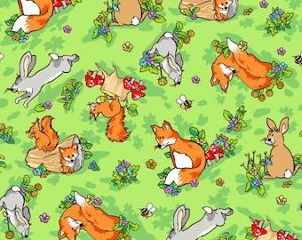 Krazy Kritters   Cotton Fabric  Green Fox & Rabbit  112-29741  Fabriquilt