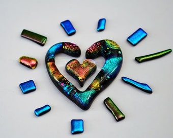 Heart Glass Tiles, Dichroic Tiles, 13 Glass Tiles, Unique Handmade Glass Tiles for Mosaic, Two Heart Tiles, Fused Glass Tile, Mosaic Tile