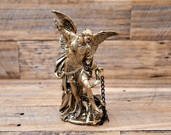 Medium Archangel Statue Gold Michael, Uriel, Raphael, Gabriel